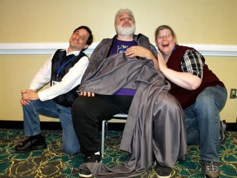 CJ goofs off with me and Peter Prellwitz at Ravencon last year